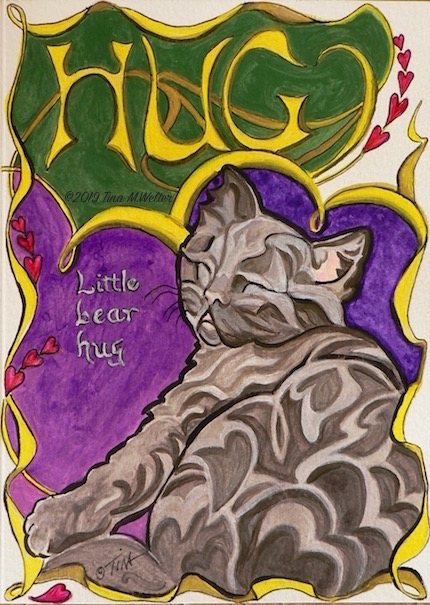 Art Nouveau inspired kitten and hearts painting. ©2019 Tina M.Welter
