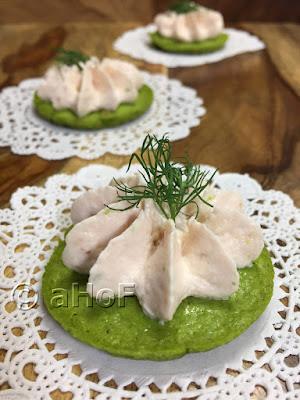 Green Pea Pancakes with Smoked Salmon Mousse