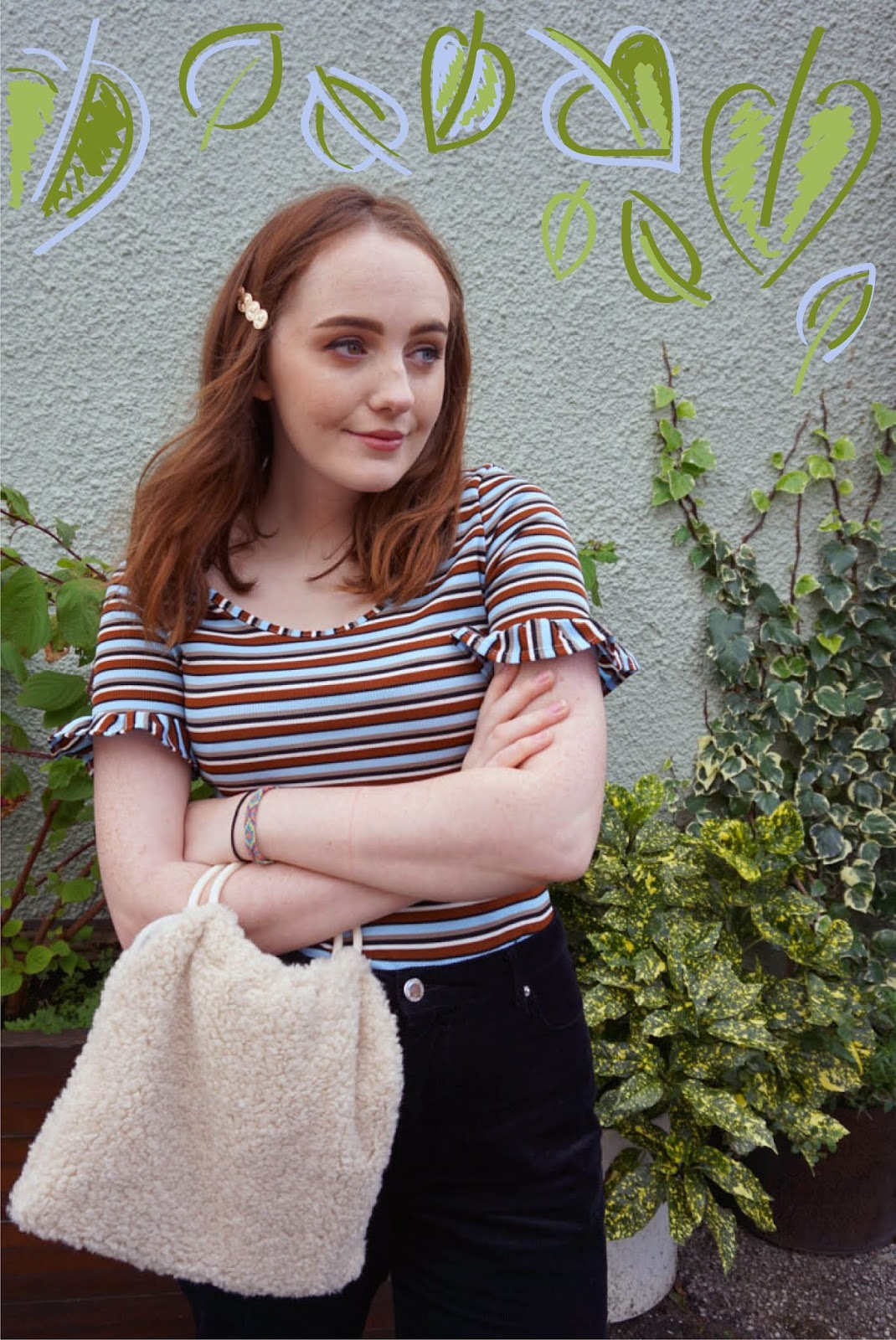 blogger styling autumn trends including brown stripes, hair clips, cord and round handle bags, with colourful leaf illustration