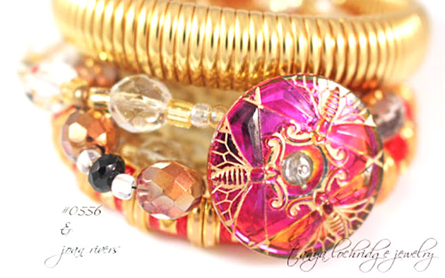 Tanya Lochridge Jewelry Vintage Czech Glass Button Gold Vermeil Bracelet