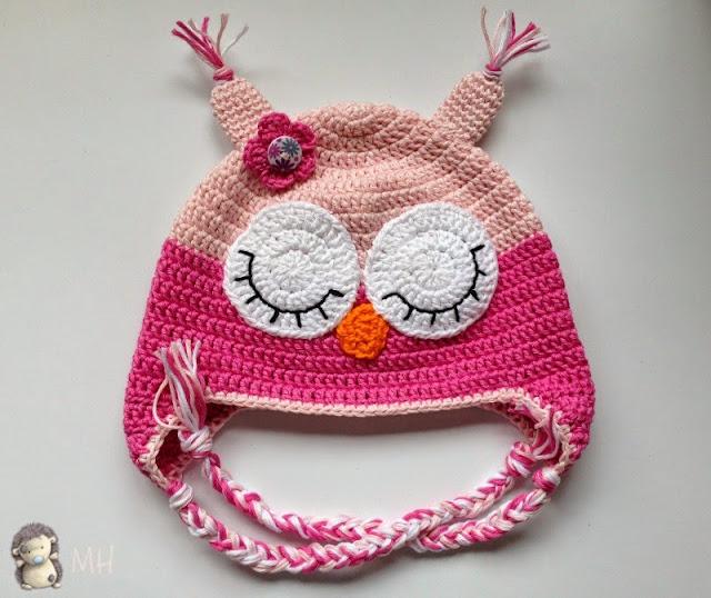 gorrito rosa búho a crochet