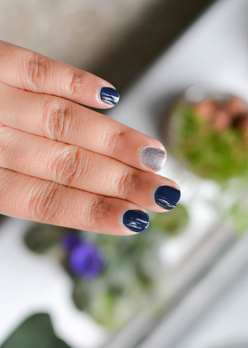 Easy Silver Gray Blue Nail Art Steps Tutorial Sally Hansen Miracle Gel Nail Polish in Midnight Mod Rock On