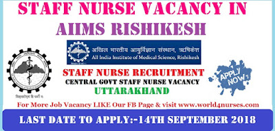 Staff Nurse Vacancy in AIIMS Rishikesh (Central Govt Job)