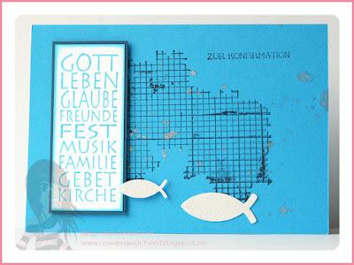 Stampin' Up! rosa Mädchen Kulmbach: Konfirmations-/Kommunionkarten mit Off the grid und Fischen vom Glückswal
