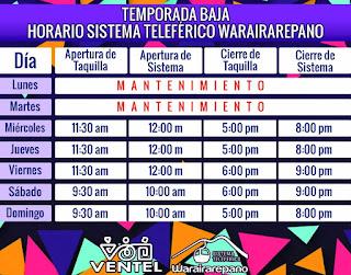 Horarios y tarifas del teleferico de Caracas, Warairarepano, Avila Magica Actualizado, Temporada Baja