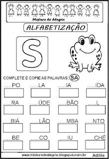 Atividades de alfabetização letra S