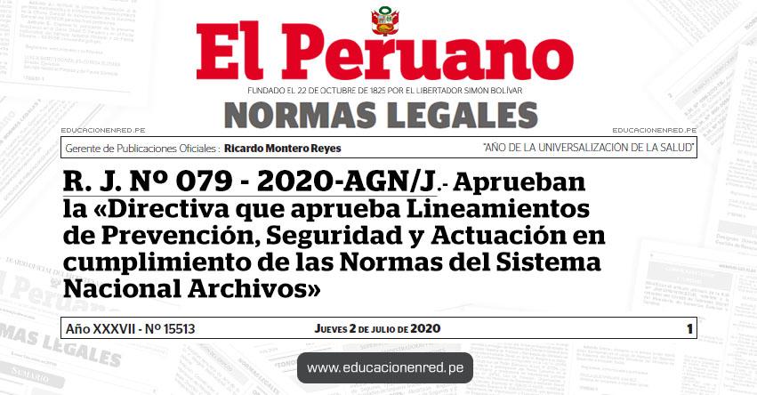 R. J. Nº 079 - 2020-AGN/J.- Aprueban la «Directiva que aprueba Lineamientos de Prevención, Seguridad y Actuación en cumplimiento de las Normas del Sistema Nacional Archivos»