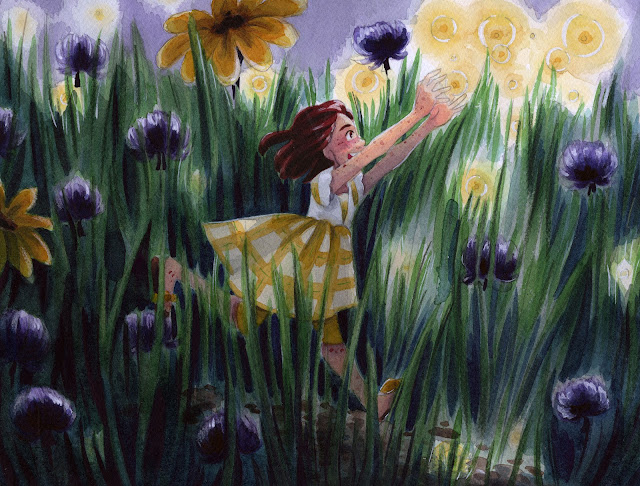 "watercolor, watercolor illustration, clover, fireflies, 7"" Kara, 7 Inch Kara"