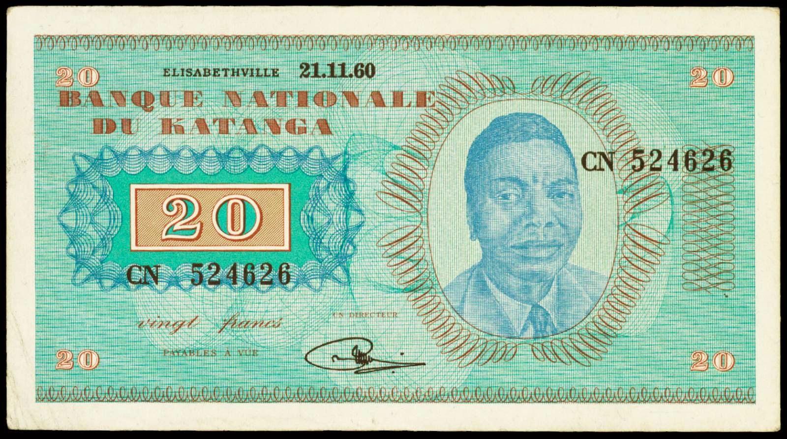 Katanga banknotes 20 Francs 1960 Moise Tshombe