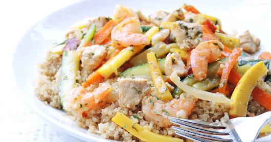 Cooking Creation: Skinny Chicken & Shrimp with Quinoa and Vegetables