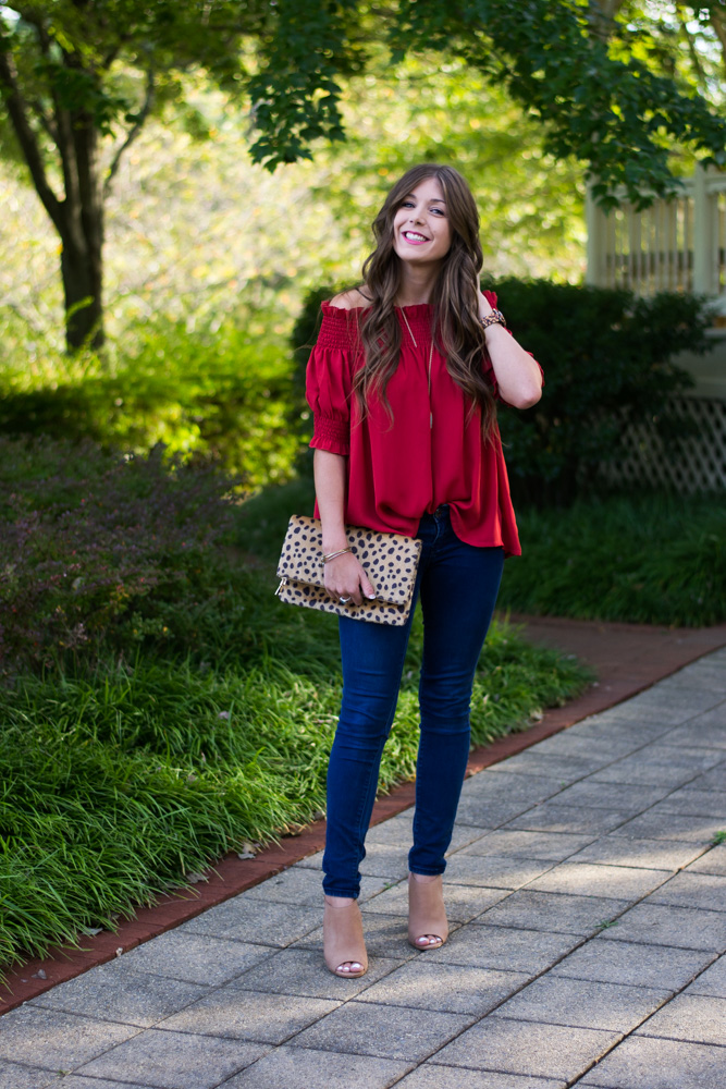 Off-shoulder tops in fall