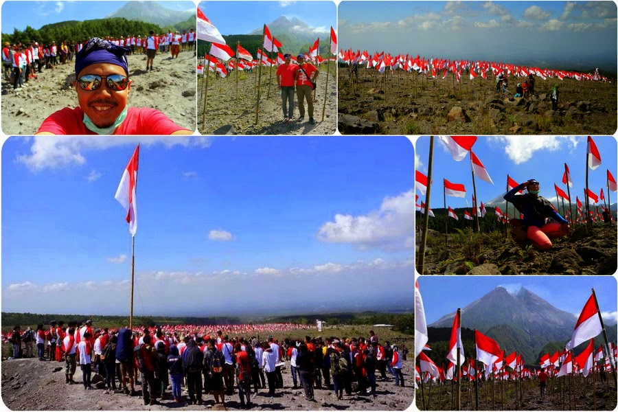 Upacara Bendera di Lereng Gunung Merapi