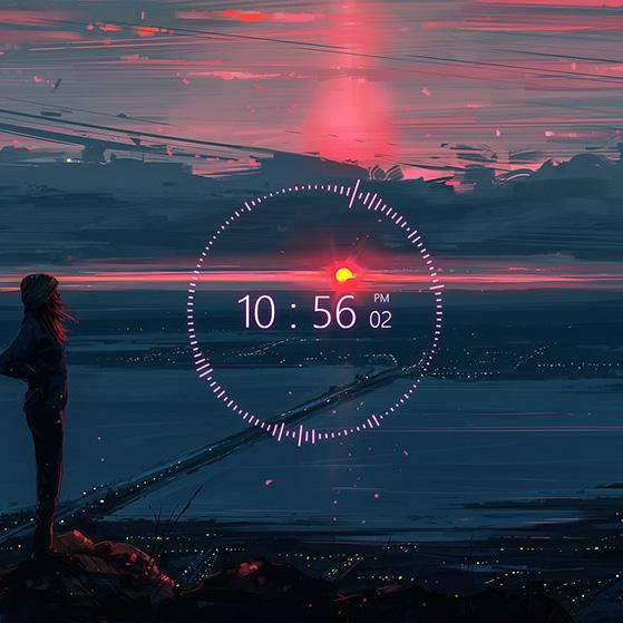 Nightfall (Clock+Audio) Wallpaper Engine