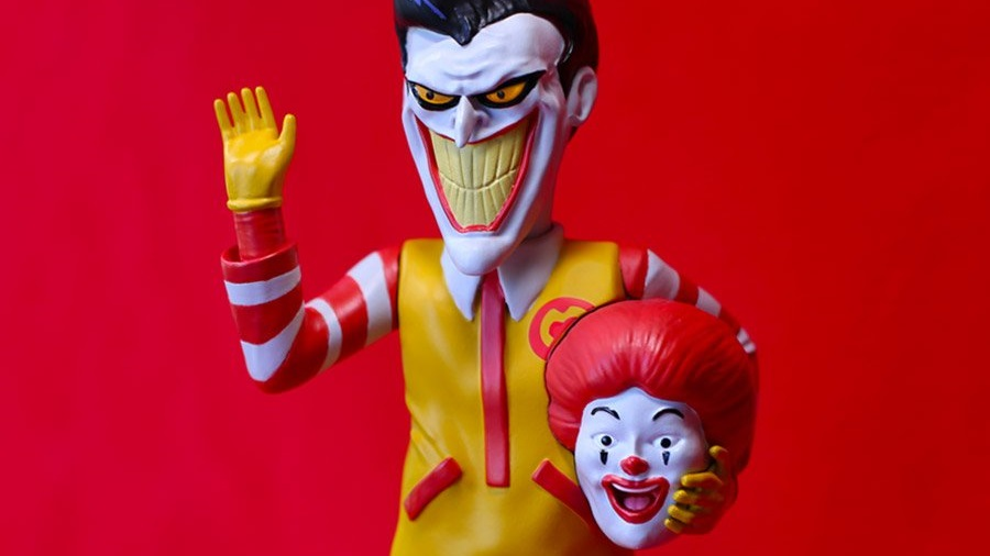 The Blot Says Icons Unmasked Ronald Mcdonald X The Joker Polystone Art Toy Collectible By Alex Solis