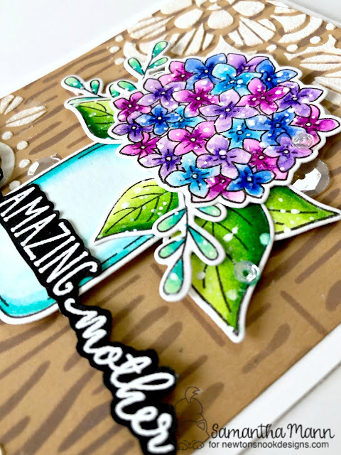 For My Amazing Mother Card by Samantha Mann for Newton's Nook Designs, Mother's Day, Card, Handmade Card, Stencil, Floral, Distress Oxide Inks, #newtonsnook #mothersday #cards #distressinks #oxideinks #inkblending #stencil