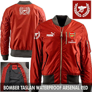 Jaket Bomber Jokowi Pilot Arsenal Red
