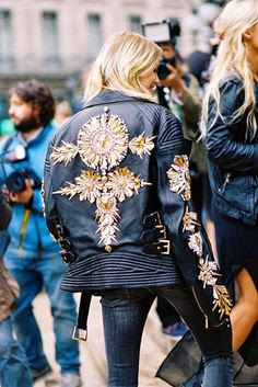 giacca pelle ricamata primavera 2017 biker leather jackets embroidered leather biker jacket ss trend