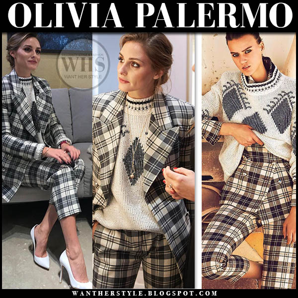 Olivia Palermo in black and white checked tartan jacket and pants, knit sweater ermanno scervino and white pumps winter fashion january 2019