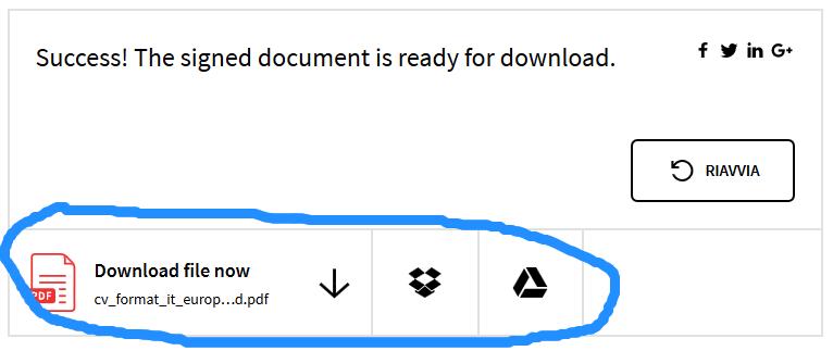scaricare la firma pdf su drive dropbox pc