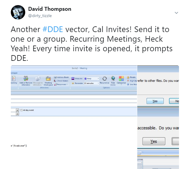Another #DDE vector, Cal Invites! Send it to one or a group. Recurring Meetings, Heck Yeah! Every time invite is opened, it prompts DDE.