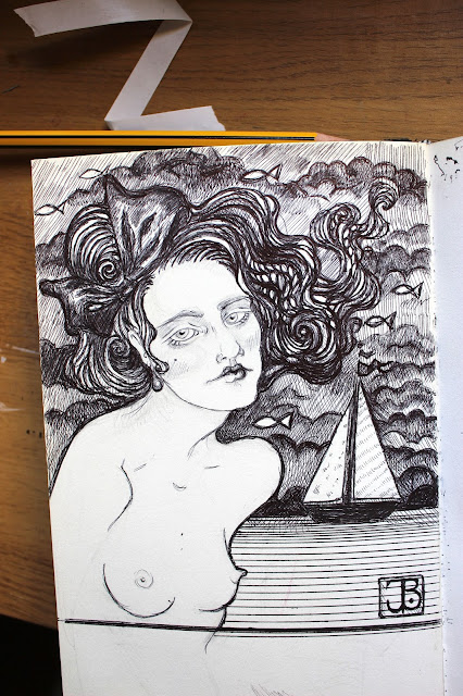 Sketchpad Notebook Sketch Drawing Pencil pen Lady Bow Boobs Boat Seaside