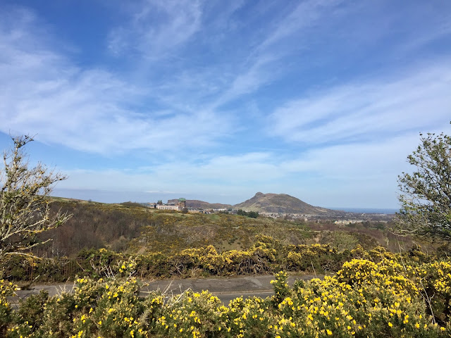 View of Arthur's Seat and Royal Observatory on Blackford Hill from Braid Hills hiking path, Edinburgh, Scotland