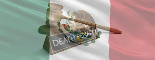 A judge's gavel and death penalty sign imposed on the Mexican flag.