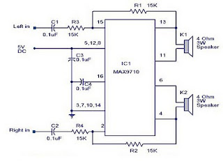 3 Watt stereo amplifier circuit