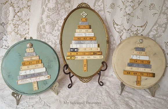 repurposed vintage folding rulers Christmas trees