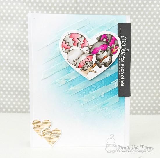 Cute Pink Raccoon Card by Samantha Mann | Woodland Duos stamp set by Newton's Nook Designs #newtonsnook