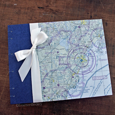 custom handmade guest book using aeronautical charts by Emerson Bindery
