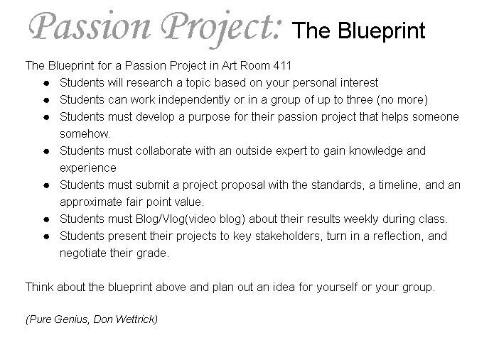 Artovation a blueprint for your passion project i could go on and on but ill leave that discussion for another day here is an example of my passion project blueprint based on don wettricks ideas malvernweather