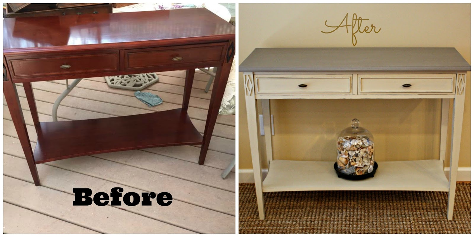 Modern sofa table transformed with chalk paint before after sofa table geotapseo Image collections