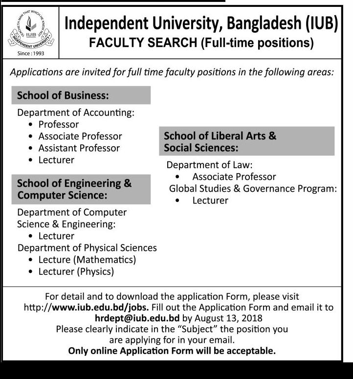 IUB Teacher Recruitment Circular 2018