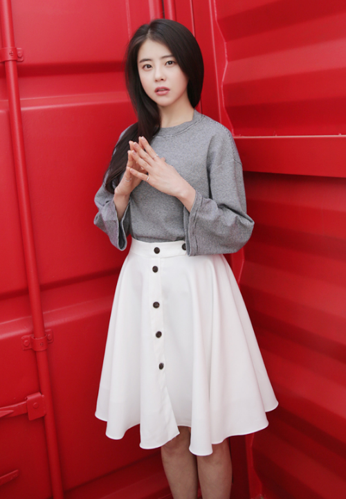 Button Tab A-Line Skirt