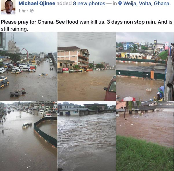 Flood ravages some areas in Ghana after heavy rainfall