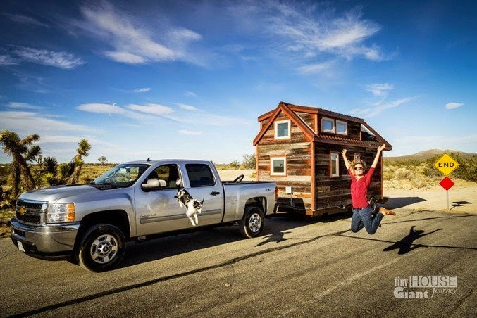 Once the house was finished, it was time to hit the road. The couple hooked the house up to the back of their truck, and began to travel across country. - This Couple Quit Their Jobs To Live Off-Grid… How They Did It Will Inspire You.