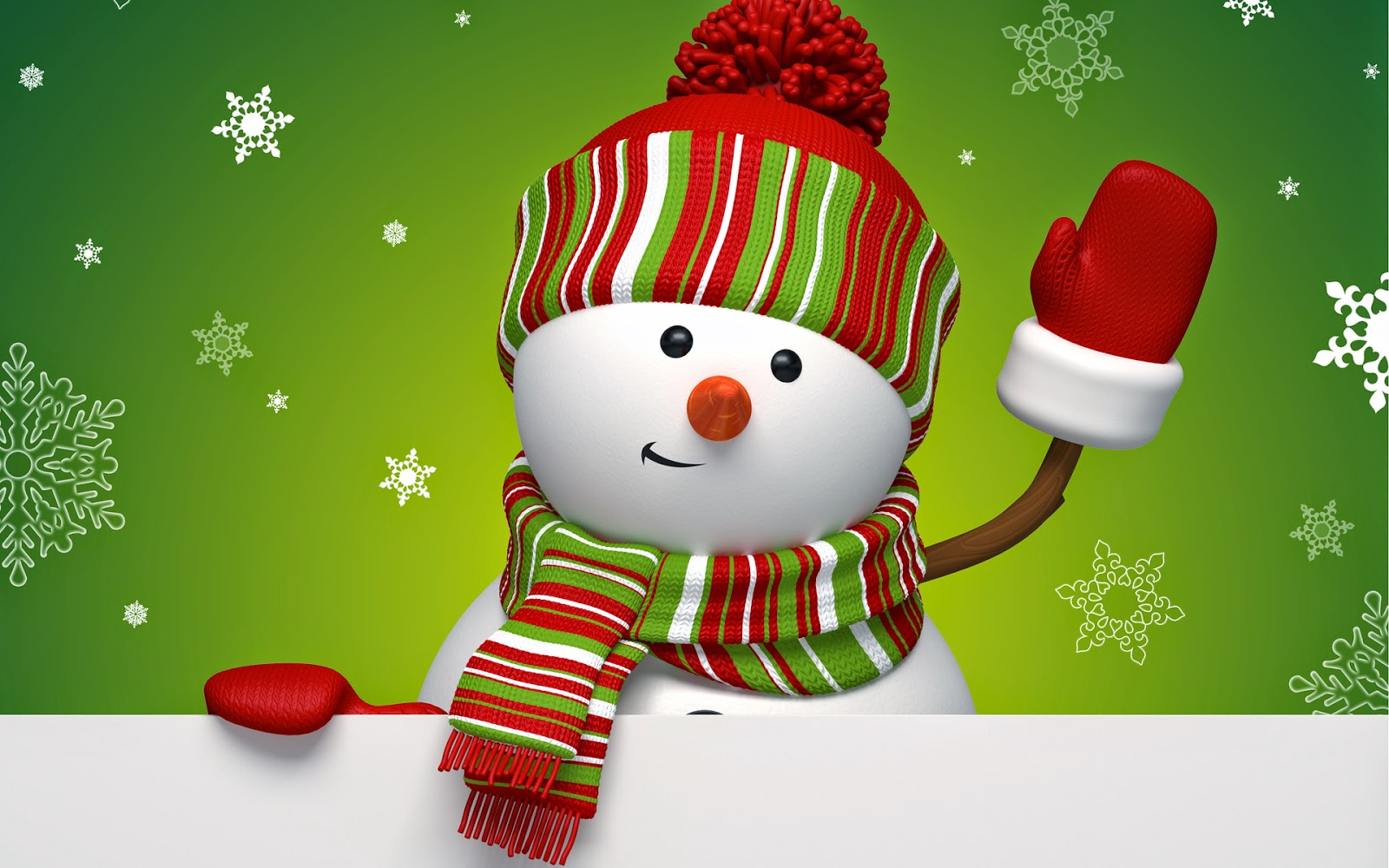 Snowman-with-green-background-snowflakes-cartoon-clipart-images-wallpaper.jpg