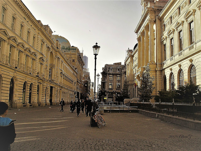 View from Lipscani; on the right, the National Bank of Romania (the old building).