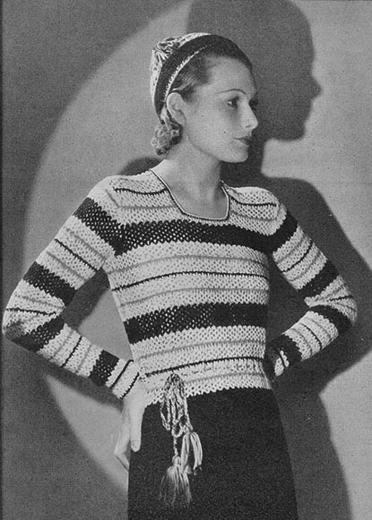 The Vintage Pattern Files: Free 1930s Crochet Pattern - Brighter London Crochet Jumper & Hat