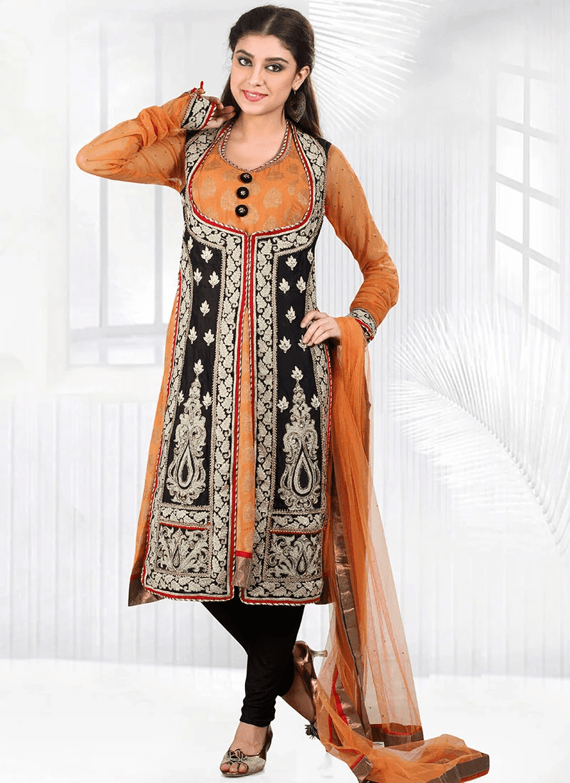 Alluring Pure Crepe Churidar Suit