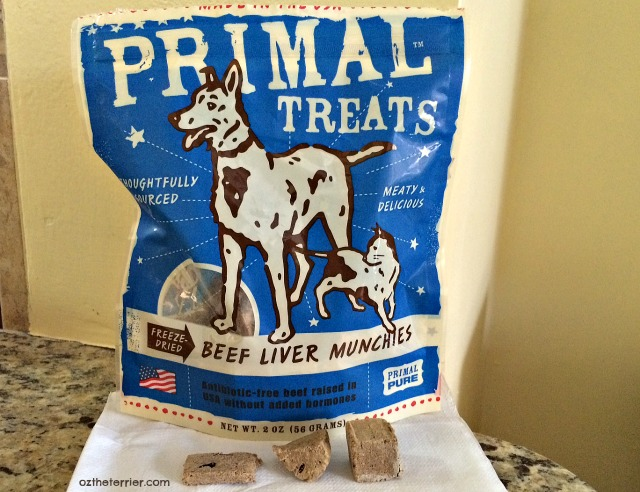 Primal Pet Foods freeze-dried beef liver munchies treats for dogs and cats