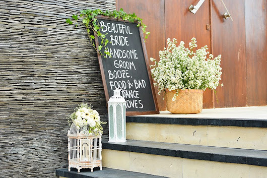 White chic rustic wedding at Phalosa Villa, Batu Belig