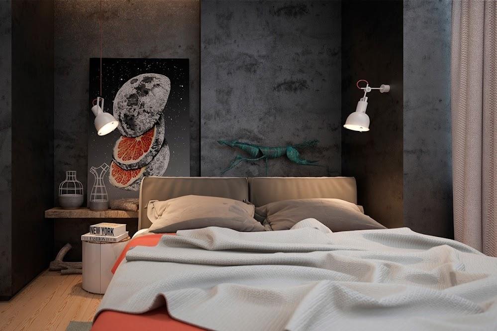 concrete-walls-industrial-bedroom