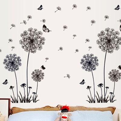 Butterfly Flying In Dandelion Wall Stickers
