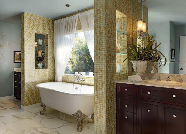 attractive mosaic tiles wall bathroom