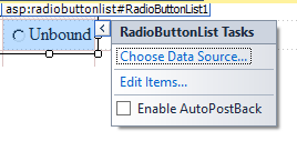 RadioButtonList Choose Data Source