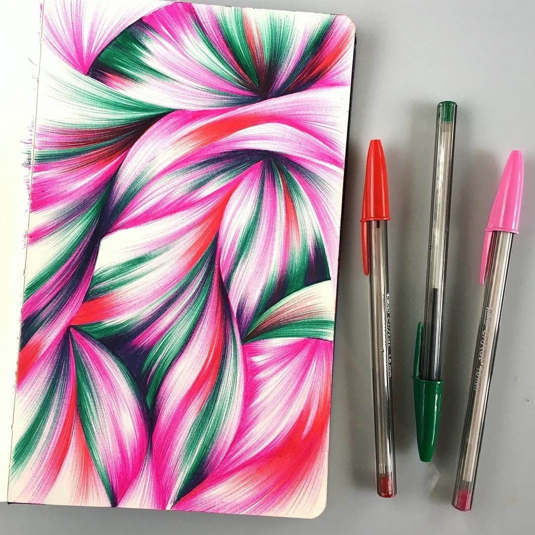 11-Jennifer-Johansson-Abstract-Colourful-Ballpoint-Pen-Drawings-www-designstack-co