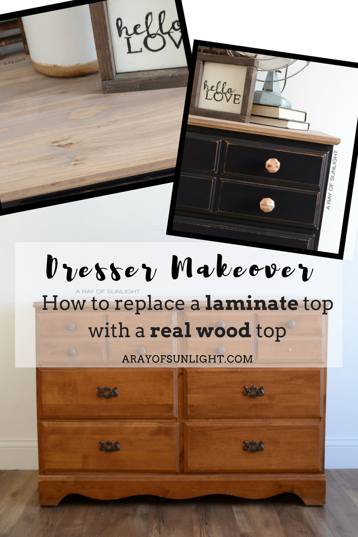 How I Updated A Vintage Dresser By Replacing It S Fake Wood Top With Real For