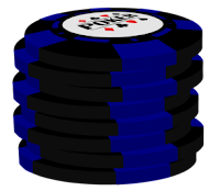 blue on black poker chip stack